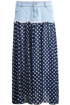 Blue Denim Contrast Polka Dot Chiffon Skirt - Sheinside.com