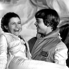 Carrie Fisher and Mark Hamill goofing off on Hoth