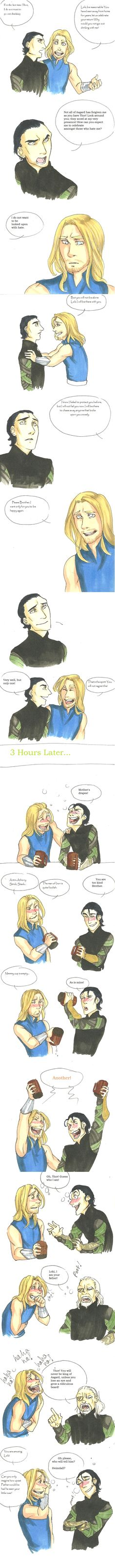 So cute. This also brings to light one of my biggest problems with Loki - besides the whole trying to take over Midgard and destroying NYC and killing Coulson (still not over that btw) thing - he spends so much time hating Odin for not treating him like Thor but completely misses out on the fact that Thor still loves him and considers him his brother, despite everything.