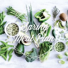 Spring Seasonal Meal Plan. Uses fresh veggies, no processed food. It comes with a corresponding grocery list and calendar. So awesome!