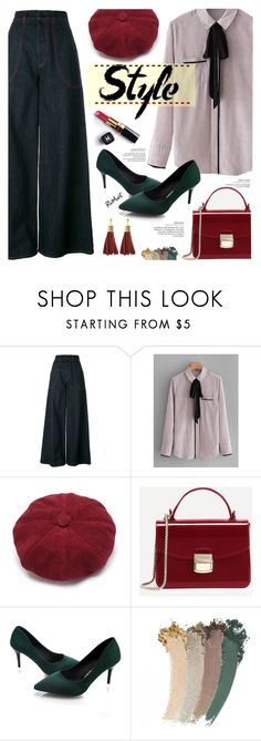"""""""Romwe. Wide-up Jeans."""" by imurzilkina ❤ liked on Polyvore featuring Marni, Chanel, Gucci, romwe, denimtrend and widelegjeans"""