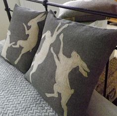 Hand-printed pillows.  The boxing hares are my favorite.