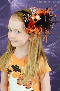 Over the Top Girls Halloween Boutique Hair Bow with Orange and Black Ostrich Puff and Matching Headband