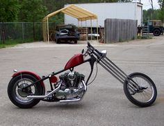 Photo of 1973 Sportster Chopper motorcycle with Hardtail frame and Springer fork and XLH 1000cc Harley Ironhead engine.