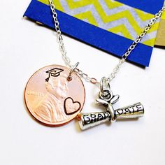 SPECIAL LISTING FOR 2 Graduation Necklace- Class of 2017 Necklace with sterling silver chains Penny Necklace- Good Luck Necklace