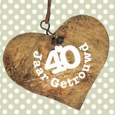 Jubileum 40 jaar getrouwd hartje - Jubileumkaarten - Kaartje2go