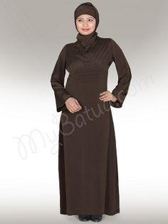 Criss-Cross Brown Abaya !    Style No: Ay-011BR   Shopping Link  : http://www.mybatua.com/criss-cross-brown-abaya   Available Sizes XS to 7XL (size chart: http://www.mybatua.com/size-chart/#ABAYA/JILBAB)