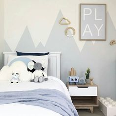Grey and white with touches of soft chambray blue ♡ A dreamy and calm bedroom for a very sweet boy, by @myhomestyle89. Our little Lucky Boy Sunday Baby Friend Mause provides the perfect little pop of velvety stripey blues on the bed x w w w . m i l k t o o t h . c o m . a u