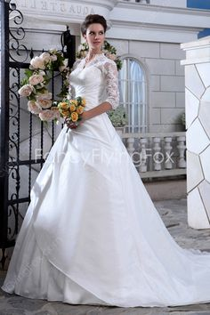 3/4 Sleeves Queen Anne Neckline A-line Floor Length Plus Size Wedding Dresses