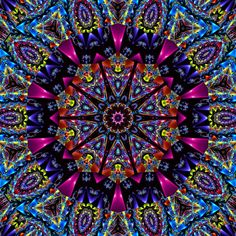 The entire image was created in Gimp but you can do it on PS too. Began as a new document with default white layer. Applied some funky neon gradient abo. Color Me Vivid Kaleidoscope Mandala Art, Kombi Hippie, Kaleidoscope Images, Kaleidoscope Quilt, Art Fractal, Gimp Tutorial, Psychedelic Art, Sacred Geometry, Zentangle