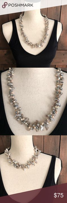 """Pearlized Beach Rock Convertible Necklace/Bracelet Convertible Jewelry, magnetic closures, two parts can be combined for a long necklace measuring 27"""", or, you can magnetically separate the parts for a 19"""" necklace and an 8"""" Bracelet, intricately beautiful detail at silver closures, excellent preowned condition. Jewelry Necklaces"""