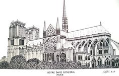 NOTRE DAME CATHEDRAL - PARIS Pen and ink drawing by Frederic Kohli of the historic Notre Dame Cathedral in Paris, France. (prints available at http://frederic-kohli.artistwebsites.com)