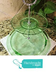 Two Tier Stand, Jewelry Stand, Vanity Tray, or Dessert, Appetizer, Cake Stand, Shabby Chic, Crystal / Cut Glass, Green Glass from Revived Charm https://www.amazon.com/dp/B0716HGC2Q/ref=hnd_sw_r_pi_dp_2h-bzb36G1XZ9 #handmadeatamazon