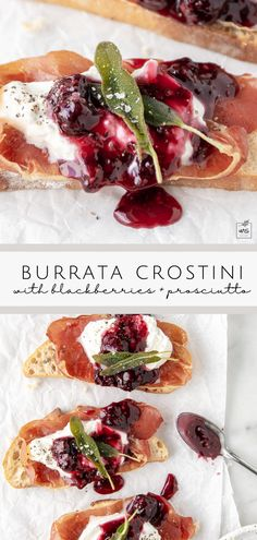 This creamy burrata crostini recipe is layered with crispy prosciutto, a sweet and tangy blackberry honey sauce, and fragrant fried sage leaves. Serve with sparkling wine for the best summer appetizer. #summermeals #appetizer #burrata