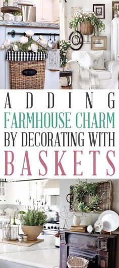 Adding Farmhouse Charm by Decorating with Baskets is such an easy thing to do! - Adding Farmhouse Charm by Decorating with Baskets is such an easy thing to do! Come and check out - Farmhouse Baskets, Country Farmhouse Decor, Rustic Decor, Farmhouse Style, Farmhouse Ideas, Cottage Farmhouse, Country Homes, Cottage Chic, Country Living