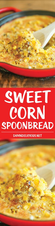 Side Recipe: Sweet Corn Spoonbread - This is basically cornbread on crack with the most amazing creamy, buttery center that just melts in your mouth. It's to die for! Fresco, Yogurt Melts, Spoon Bread, Side Dish Recipes, Corn Recipes, Easy Recipes, Easy Meals, Sweet Corn, Recipes