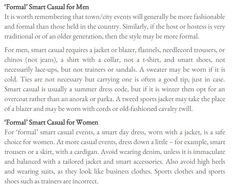 'Formal' Smart Casual Dress Explained.