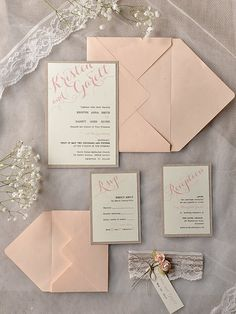 Custom listing 60 invitations Grey Peach von 4LOVEPolkaDots