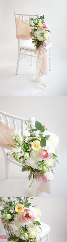 How to decorate your wedding chairs with flowers.