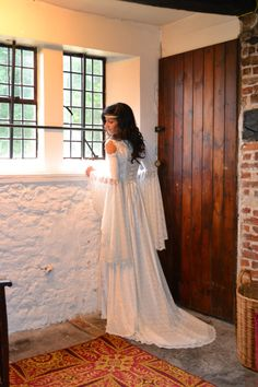 Ella, a Romantic Medieval, Elvish, Pre- Raphaelite  Wedding Dress in Ivory Lace, Satin and Crushed Velvet.. $391.00, via Etsy.
