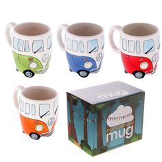 Mugs Vw Camper Van Mug Ceramic Tea Cup Coffee Novelty Red Blue Green Orange Gift Novelty Mugs, Novelty Gifts, Soup Mugs, Tea Mugs, Orange Tea Cups, Van Design, Four Micro Onde, Coffee Milk, Milk Tea