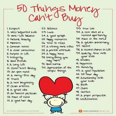 50 things money can't buy.