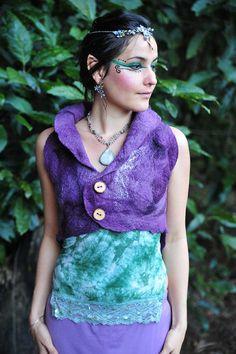Felt Silk Corset Back Closure Pixie Fairy Vest OOAK by frixiegirl, $139.00