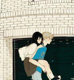 images for anime art Couple Illustration, Illustration Art, Aesthetic Art, Aesthetic Anime, Korean Aesthetic, Anime Couples, Cute Couples, Cute Couple Wallpaper, Cute Couple Art