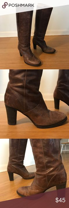 """Amazing price- J. Crew brown boots, size 9. 3"""" heel. These boots are awesome!! They have a worn look even though they are in good shape. The heel turns them from rugged to stylish- you can't help but strut with confidence look like a BOSS. J. Crew Shoes Heeled Boots"""
