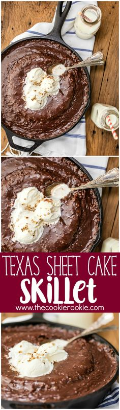 GOOEY TEXAS SHEET CAKE SKILLET! Top with ice cream and eat with a spoon. HEAVEN! This dessert is the ultimate Texas Sheet Cake recipe!