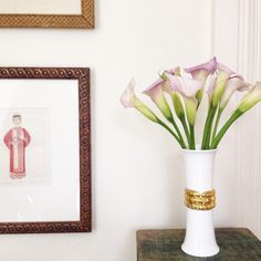 The Katy Briscoe Home bone china Gold Bud Vase is a dream with these calla lilies and oriental prints!