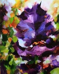 Spring Dance Purple Iris Painting and Tulips of the Dallas Arboretum by Texas Artist Nancy Medina, painting by artist Nancy Medina
