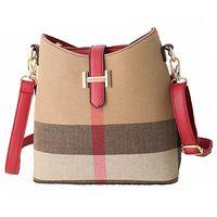 Fashion Leather Women Handbags Designer Plaid Women's Shoulder Bags Casual Canvas Women Totes Vintage Bucket Bag Bolsas Sac RL62