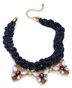 American Rag Necklace, Gold-Tone Blue Rope and Crystal Pendant Frontal Necklace