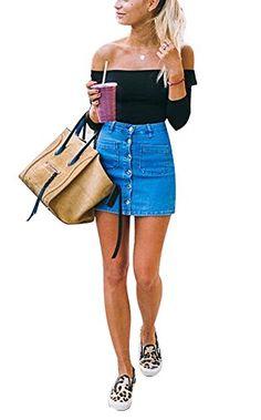 da701ba7cb USGreatgorgeous Women's Juniors Cute Button Down Denim Mini Skirt Short  Pencil Jean Skirt Jean Pencil Skirt