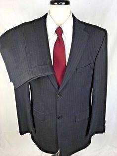 HAGGAR Suit Mens 42 Black WOOL Single Vent Blazer Jacket Pants 42L #Haggar #TwoButton