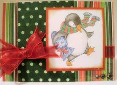 Christmas card, penguin with gift from Mo Manning digi stamps