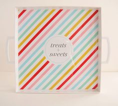 NEW Neapolitan Multicolored Stripe Square Monogrammed Personalized Melamine Tray with Handles. $56.00, via Etsy.