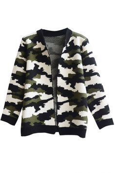 Camouflage Color V-Neck Open Front Long Sleeve Cardigan