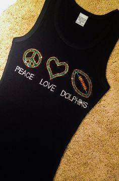 Peace Love Dolphins Rhinestone Crystal Tank, NFL Football, Miami Dolphins shirt, Small, Medium, Large, XL, 2x, 3x, Plus Sizes too on Etsy, $19.95
