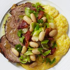 Lamb Shoulder with Polenta and Beans Recipe