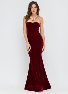 Velvet Vixen Strapless Mermaid Maxi #maxi #velvet #mermaid #gown #dress #specialevent #fancy #ootn #fashion #gojane