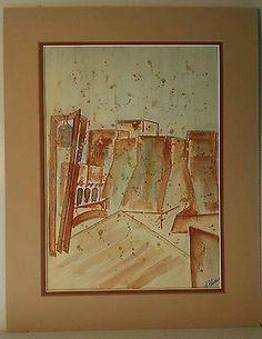 Original Watercolor Painting UNM University New Mexico Alma Mater Albuquerque