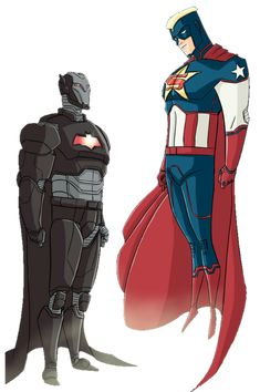 Iron Bat vs Super Soldier by? Iron Man, Dc Comics Vs Marvel, Marvel And Dc Crossover, Super Soldier, Batman And Superman, Funny Batman, Spiderman, Superhero Characters, Cartoon Crossovers