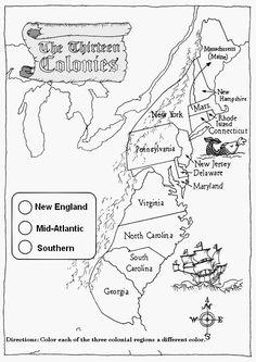 13 Colonies Map Worksheet Printable