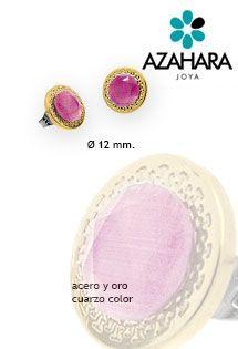 Pendientes de acero y oro con un cuarzo de color rosa fuscsia de la firma Azahara Joya. Cierre de presión y diámetro de 12 milímetros.