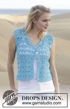 Delphine / Drops - Free Crochet Patterns By Drops Design - Diy Crafts Cardigan Au Crochet, Gilet Crochet, Crochet Vest Pattern, Crochet Coat, Crochet Jacket, Crochet Cardigan, Crochet Shawl, Knitting Patterns Free, Crochet Clothes