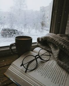 don't you just love having a good book with a warm cup of coffee when it's snowing?