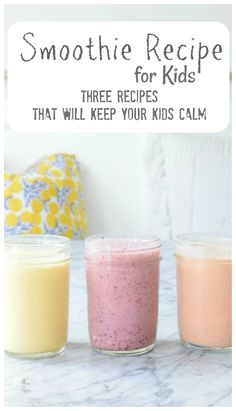 Smoothie for Kids that will keep them CALM - Nesting With Grace Smoothie Recipe For Kids- How to help your kids overcome anxiety Healthy Smoothies For Kids, Toddler Smoothies, Smoothie Recipes For Kids, Healthy Breakfast Smoothies, Healthy Kids, Healthy Drinks, Healthy Meals, Healthy Food, Detox Drinks