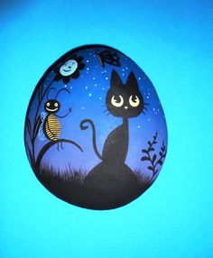 Hand Painted Stone night by KanetisStones on Etsy
